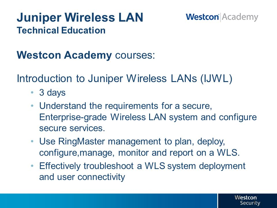 Juniper Wireless LAN Technical Education