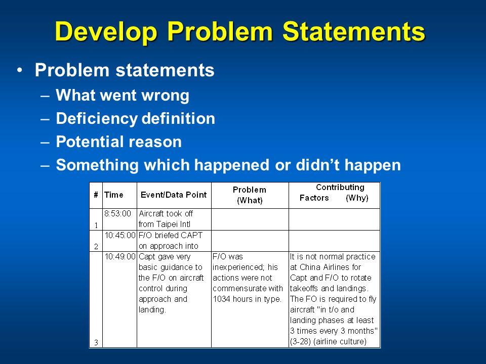 Develop Problem Statements