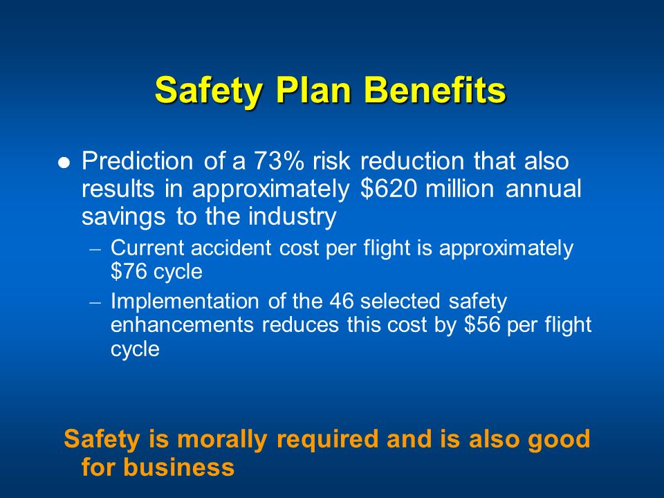 Safety Plan Benefits Prediction of a 73% risk reduction that also results in approximately $620 million annual savings to the industry.
