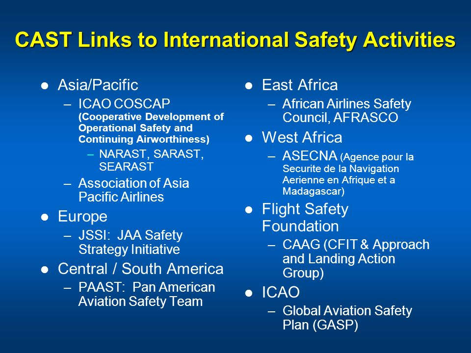 CAST Links to International Safety Activities