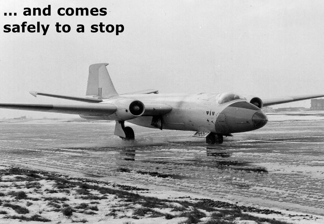 1962: a Canberra lands on a winter contaminated runway ...