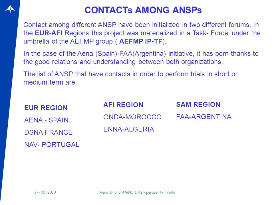 CONTACTs AMONG ANSPs