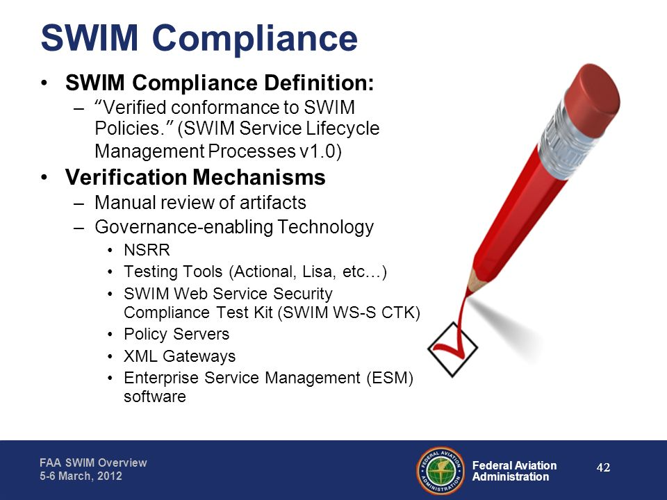 SWIM Compliance SWIM Compliance Definition: Verification Mechanisms