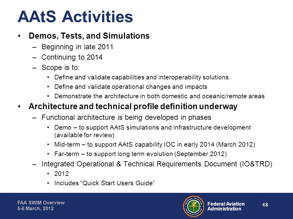 AAtS Activities Demos, Tests, and Simulations