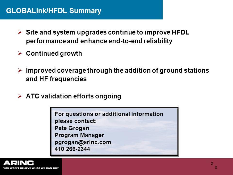 GLOBALink/HFDL Summary