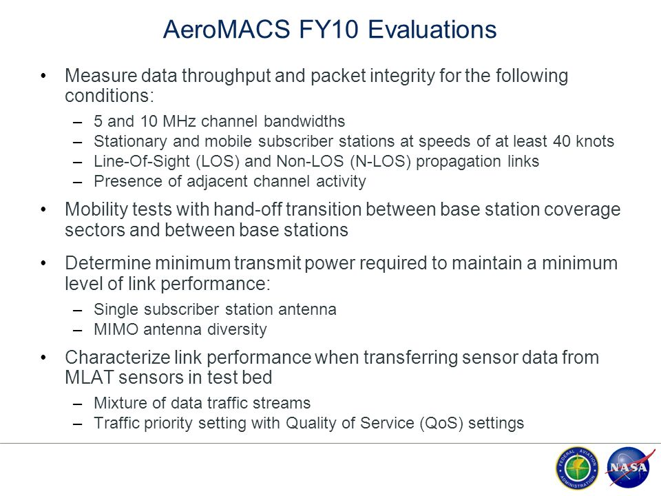 AeroMACS FY10 Evaluations