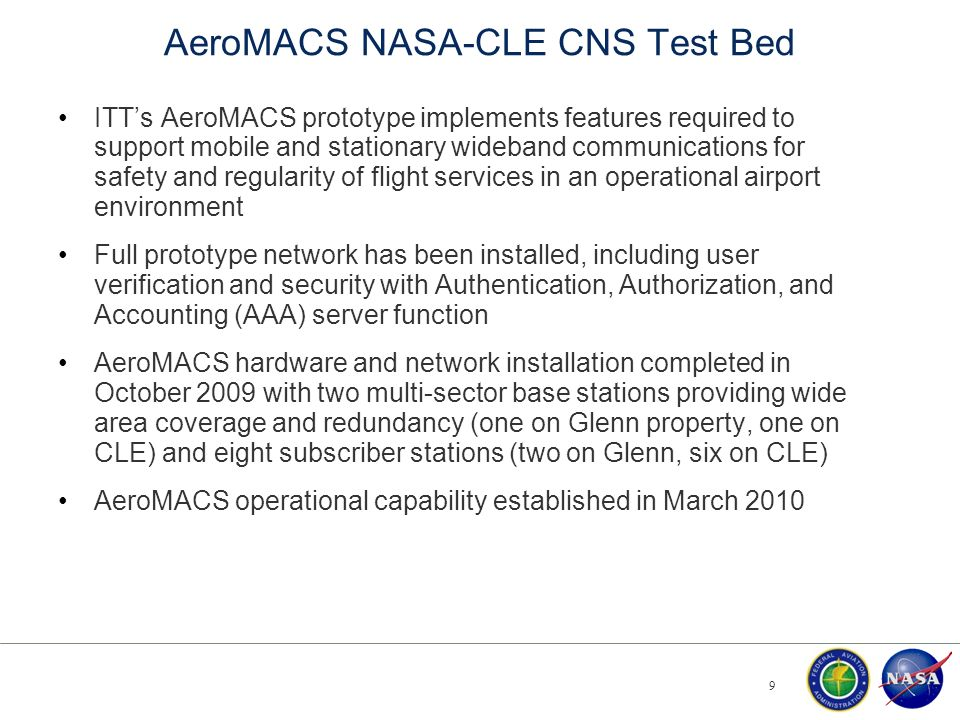 AeroMACS NASA-CLE CNS Test Bed