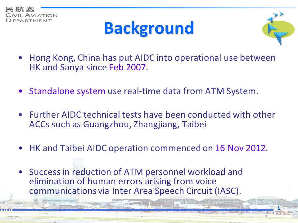 Background Hong Kong, China has put AIDC into operational use between HK and Sanya since Feb 2007.