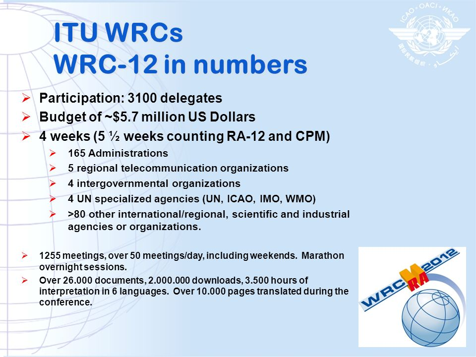 ITU WRCs WRC-12 in numbers
