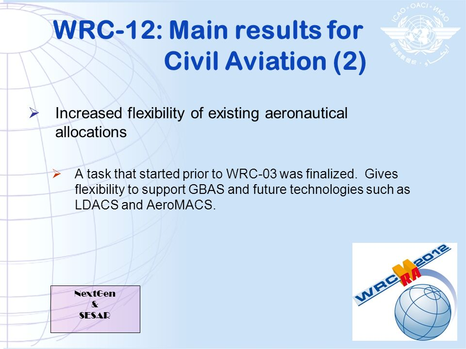 WRC-12: Main results for Civil Aviation (2)