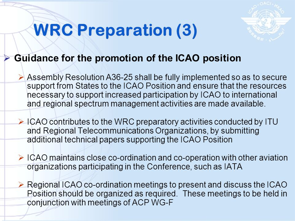 WRC Preparation (3) Guidance for the promotion of the ICAO position