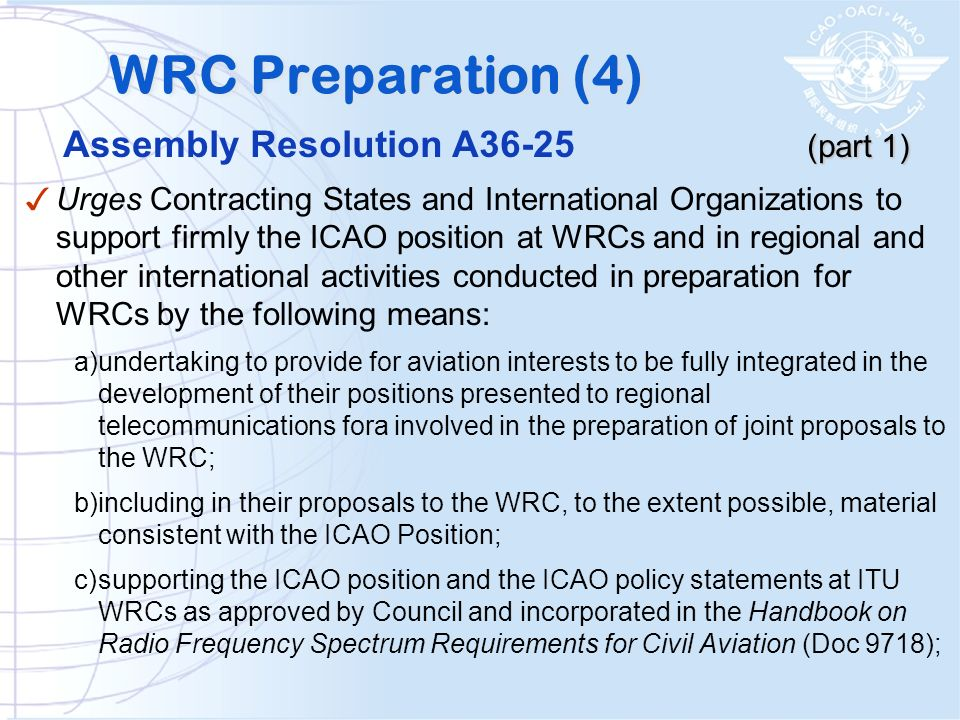 WRC Preparation (4) Assembly Resolution A36-25 (part 1)
