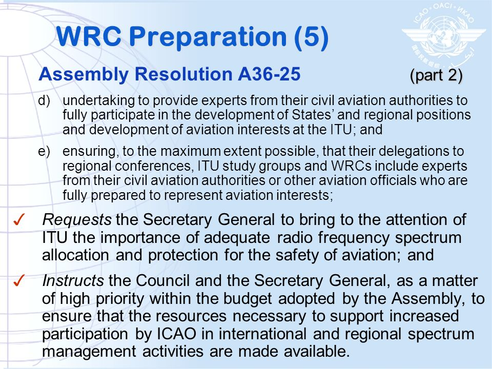WRC Preparation (5) Assembly Resolution A36-25 (part 2)
