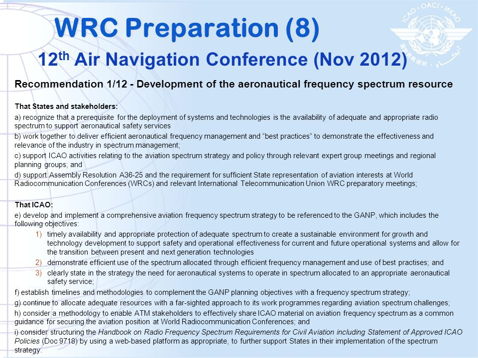 WRC Preparation (8) 12th Air Navigation Conference (Nov 2012)