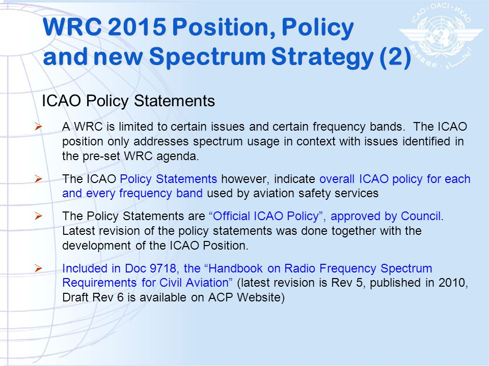 WRC 2015 Position, Policy and new Spectrum Strategy (2)