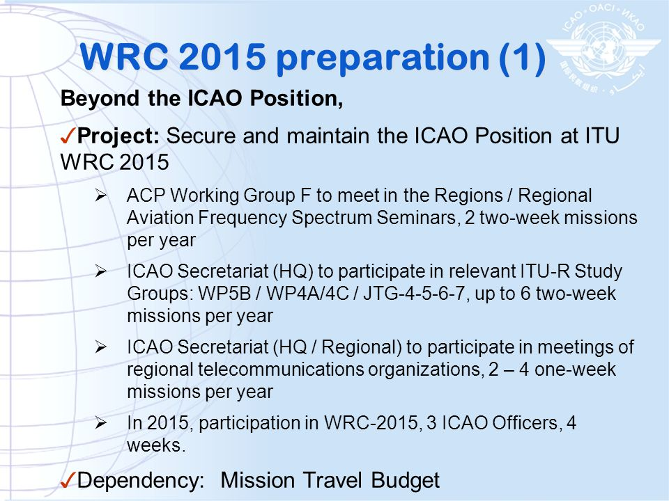 WRC 2015 preparation (1) Beyond the ICAO Position,