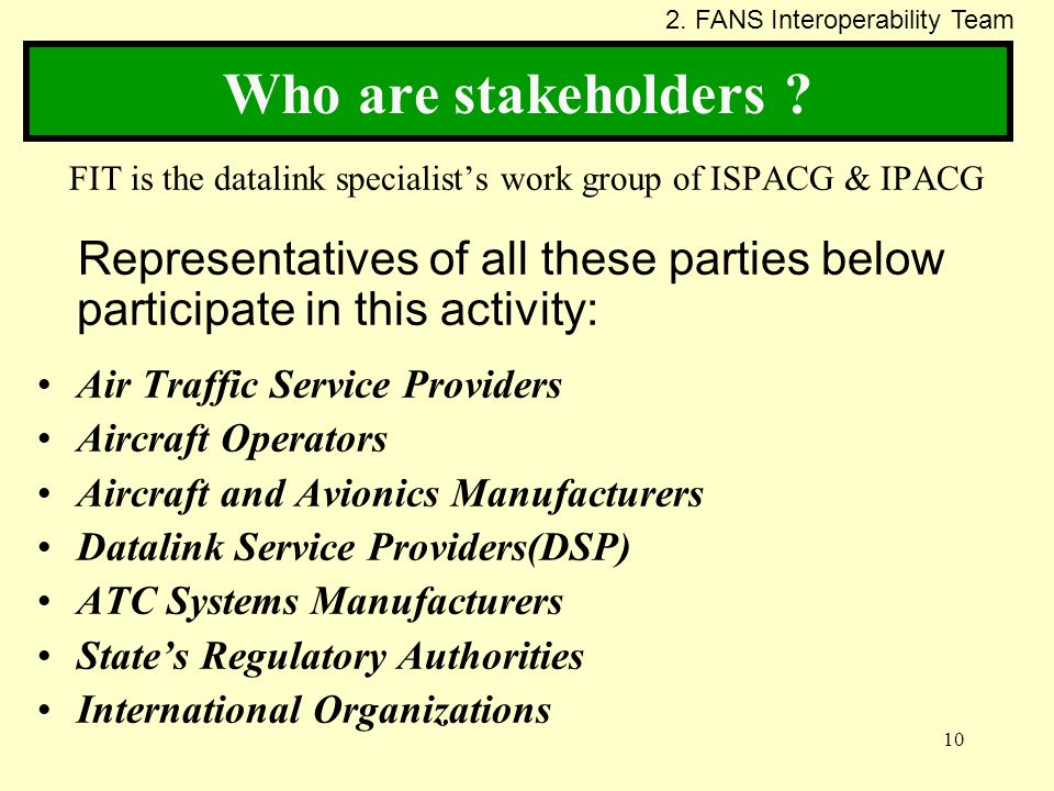 FIT is the datalink specialist's work group of ISPACG & IPACG