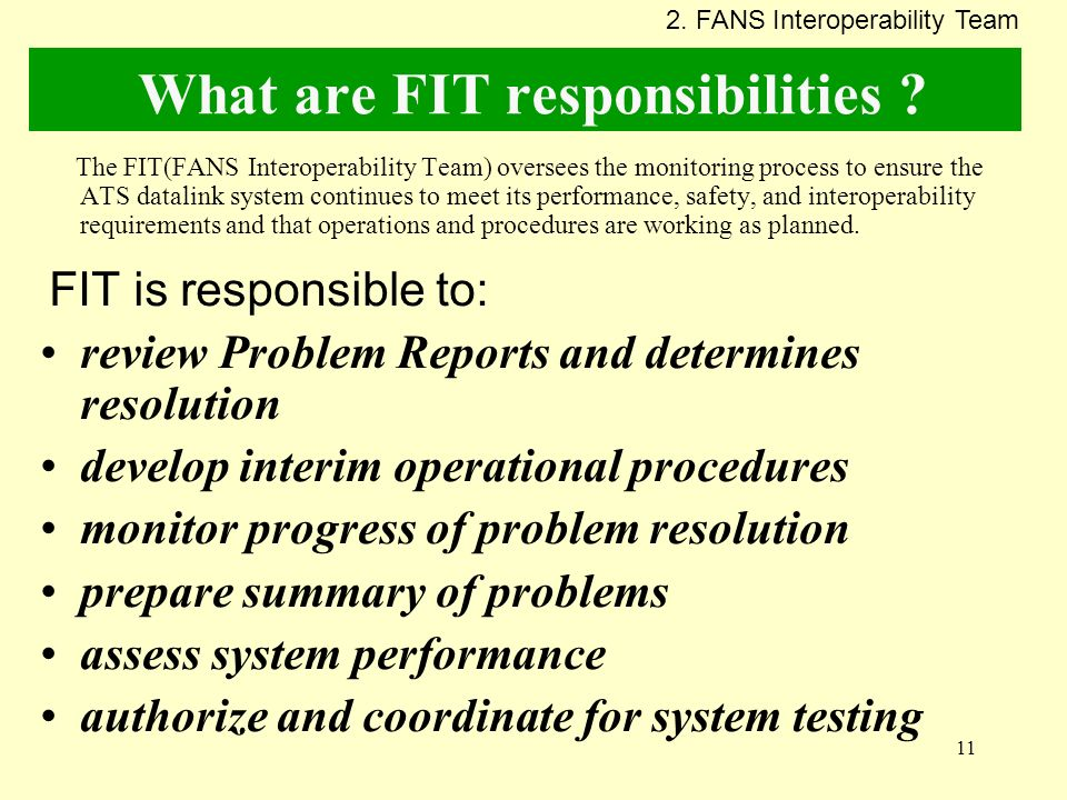 What are FIT responsibilities