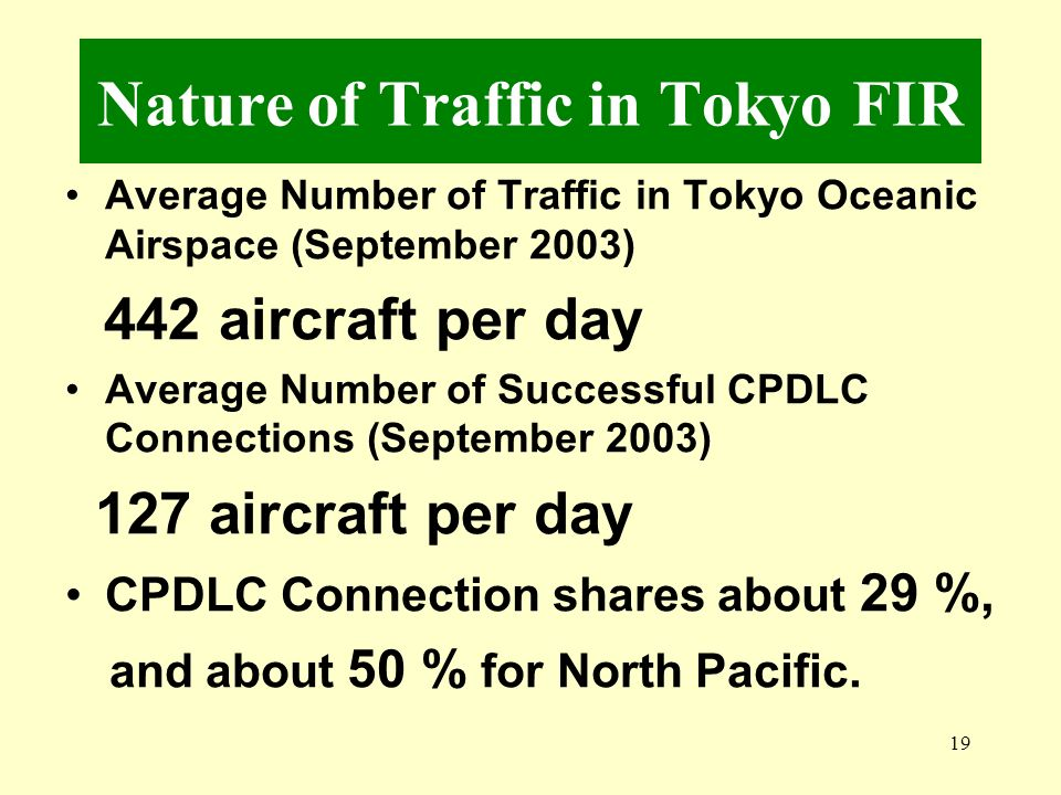 Nature of Traffic in Tokyo FIR