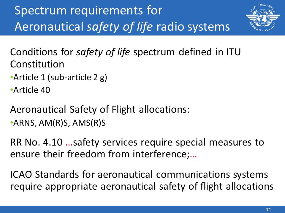 Spectrum requirements for Aeronautical safety of life radio systems