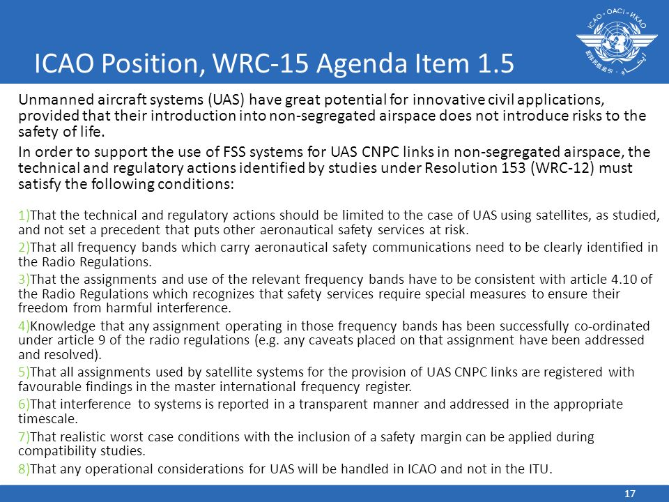 ICAO Position, WRC-15 Agenda Item 1.5