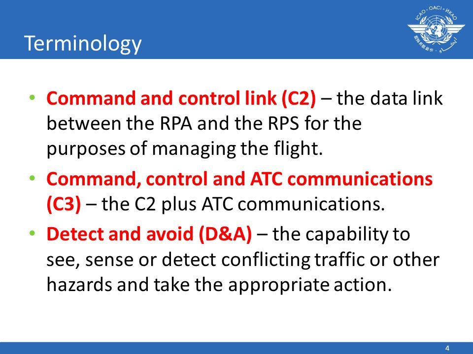 Terminology Command and control link (C2) – the data link between the RPA and the RPS for the purposes of managing the flight.