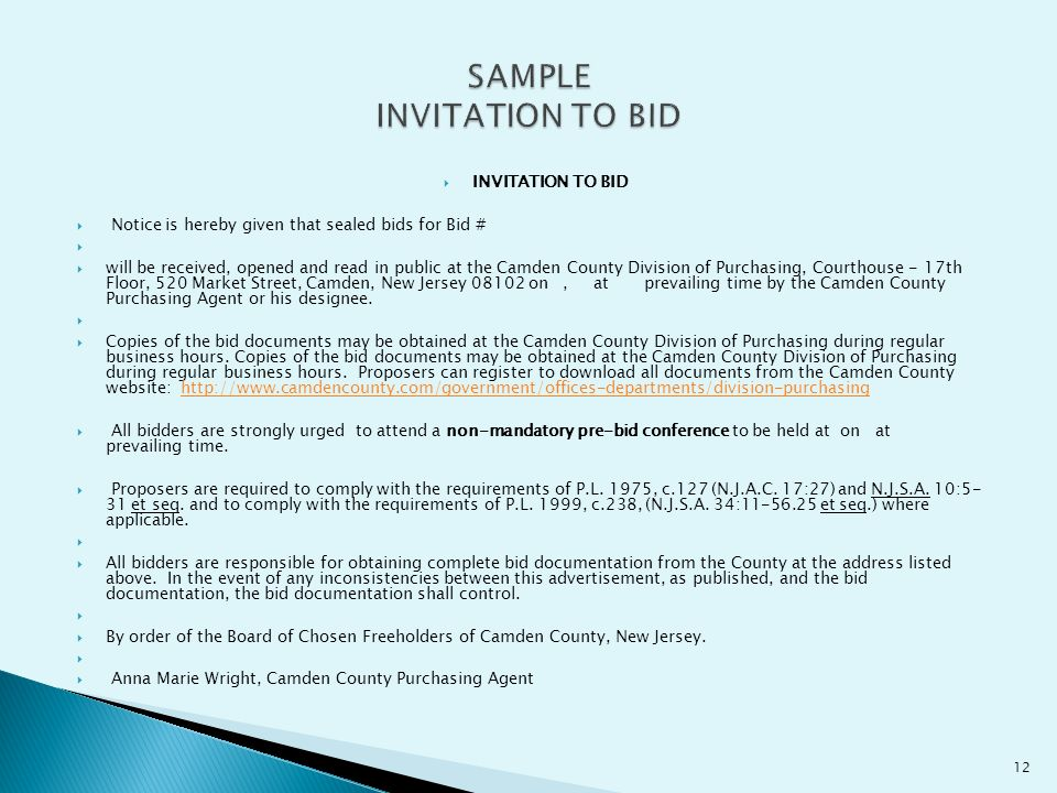 Anna marie wright qpa camden county purchasing agent ppt download sample invitation to bid stopboris Images