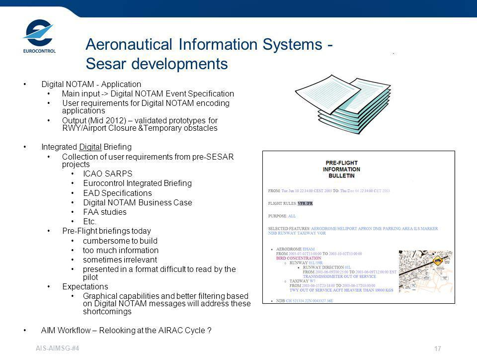 Aeronautical Information Systems - Sesar developments