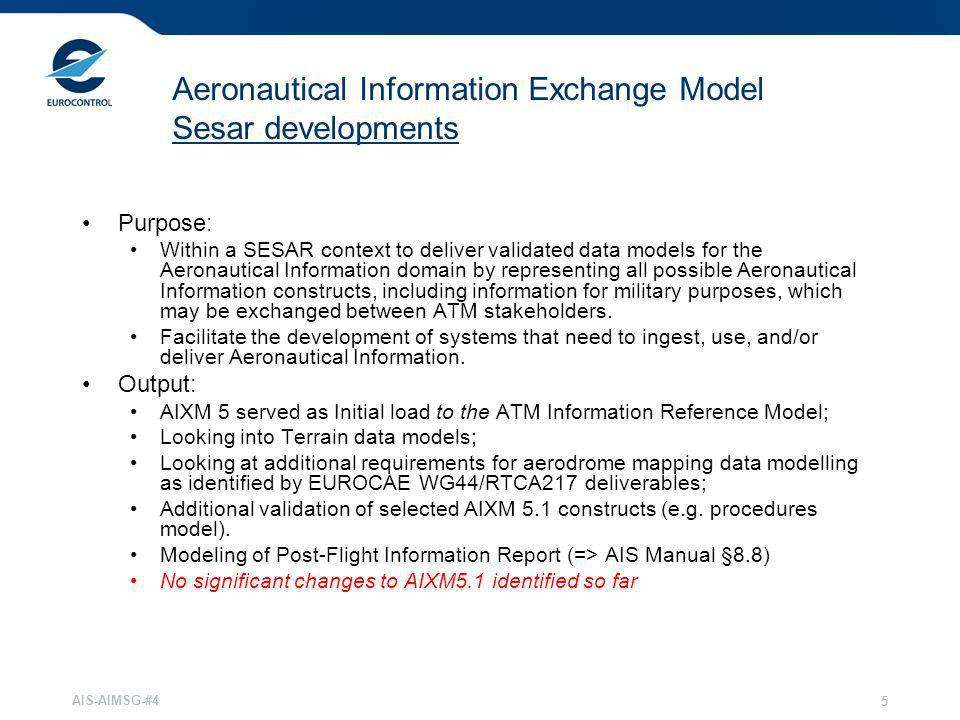 Aeronautical Information Exchange Model Sesar developments
