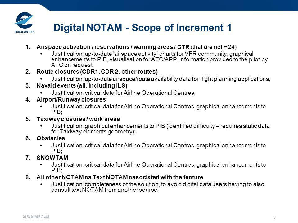 Digital NOTAM - Scope of Increment 1