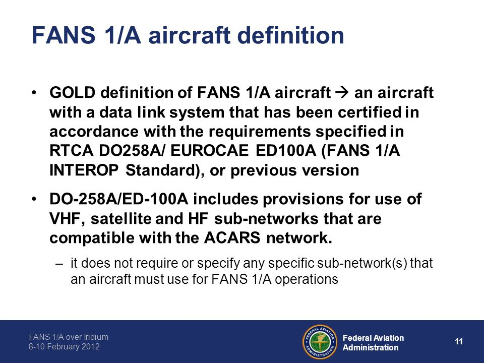 FANS 1/A aircraft definition