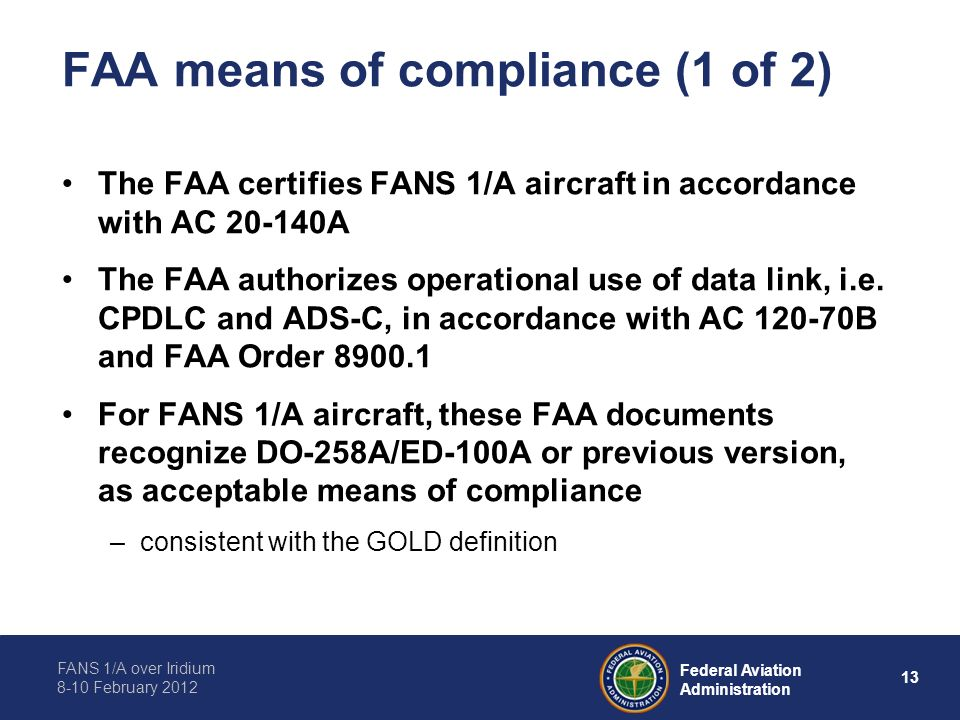 FAA means of compliance (1 of 2)
