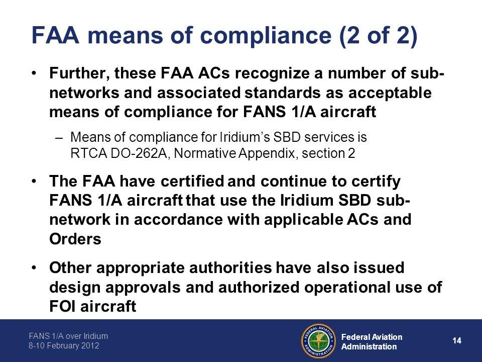 FAA means of compliance (2 of 2)