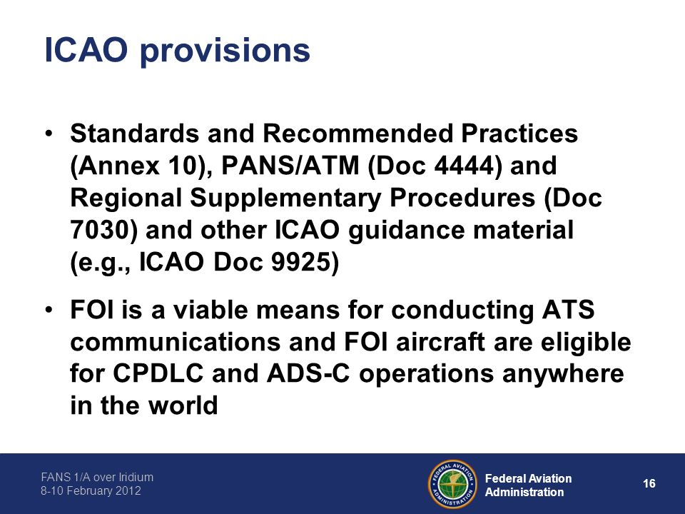 ICAO provisions