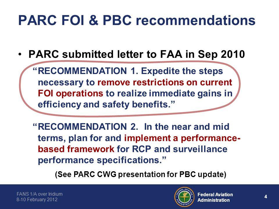 PARC FOI & PBC recommendations
