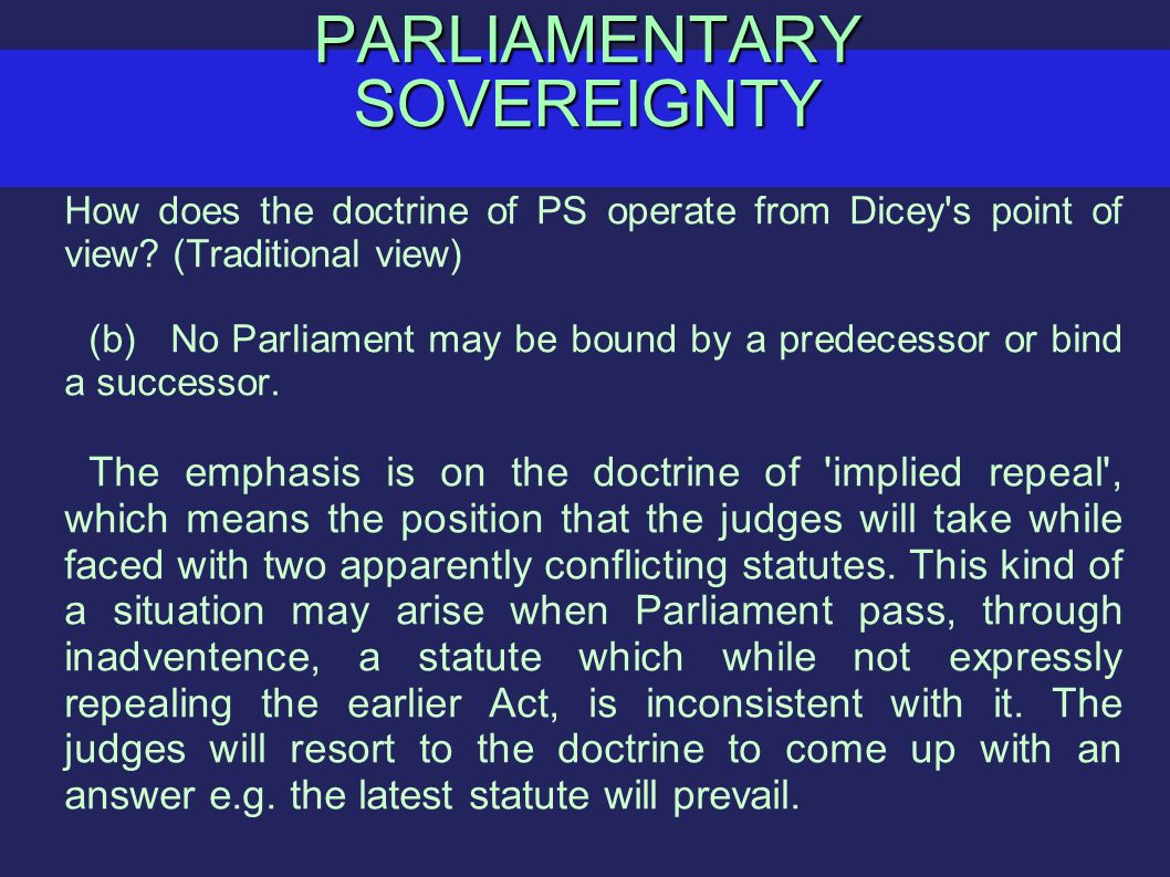 dicey concerning parliamentary sovereignty