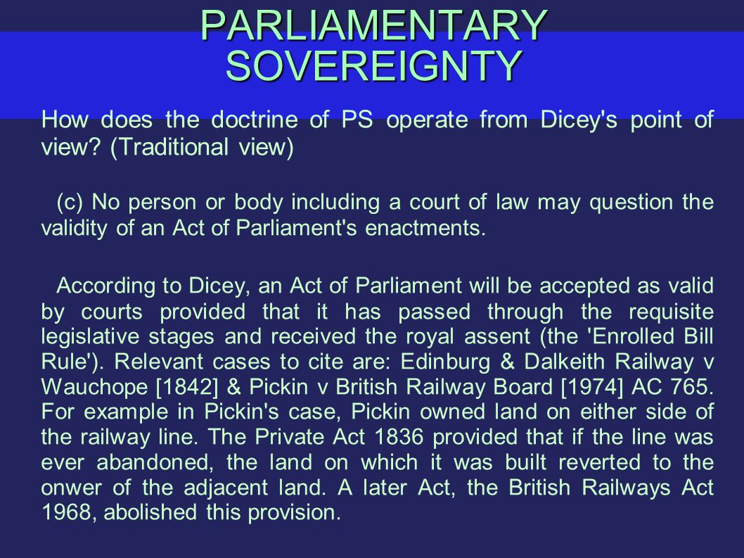 dicey about parliamentary sovereignty