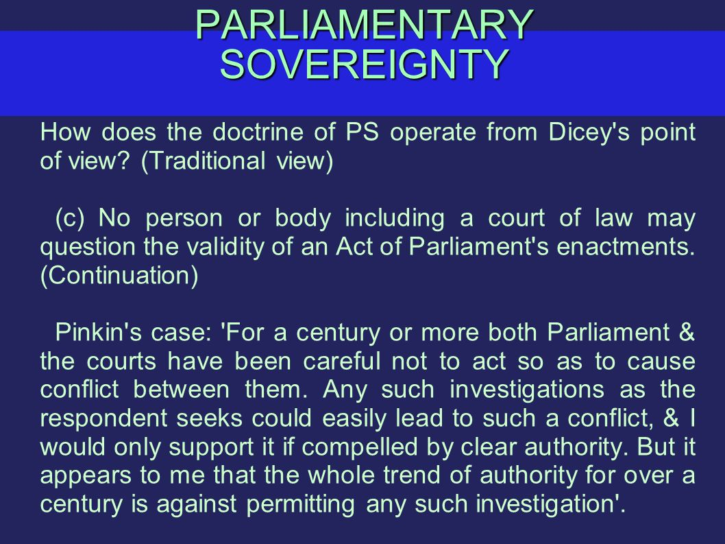 dicey for parliamentary sovereignty