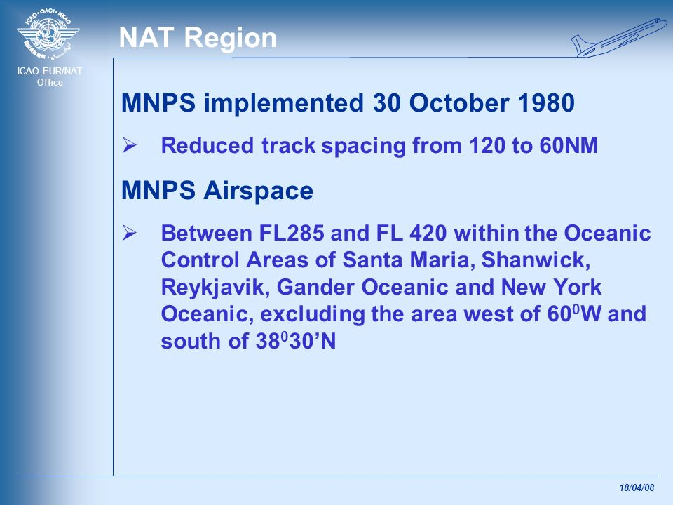 NAT Region MNPS implemented 30 October 1980 MNPS Airspace