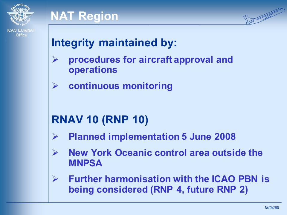NAT Region Integrity maintained by: RNAV 10 (RNP 10)