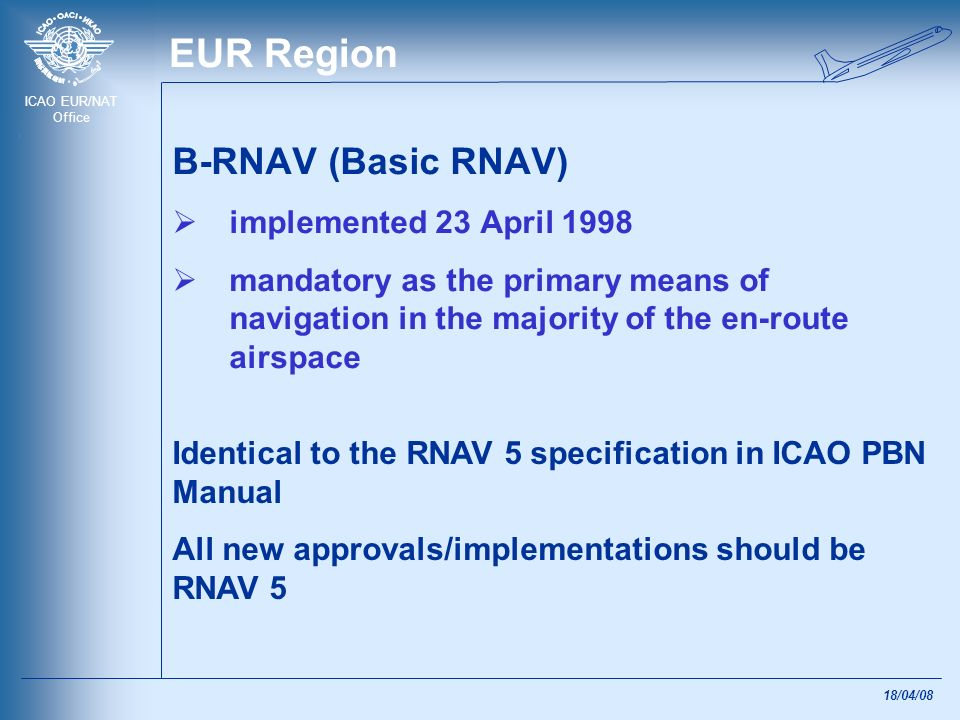 EUR Region B-RNAV (Basic RNAV) implemented 23 April 1998