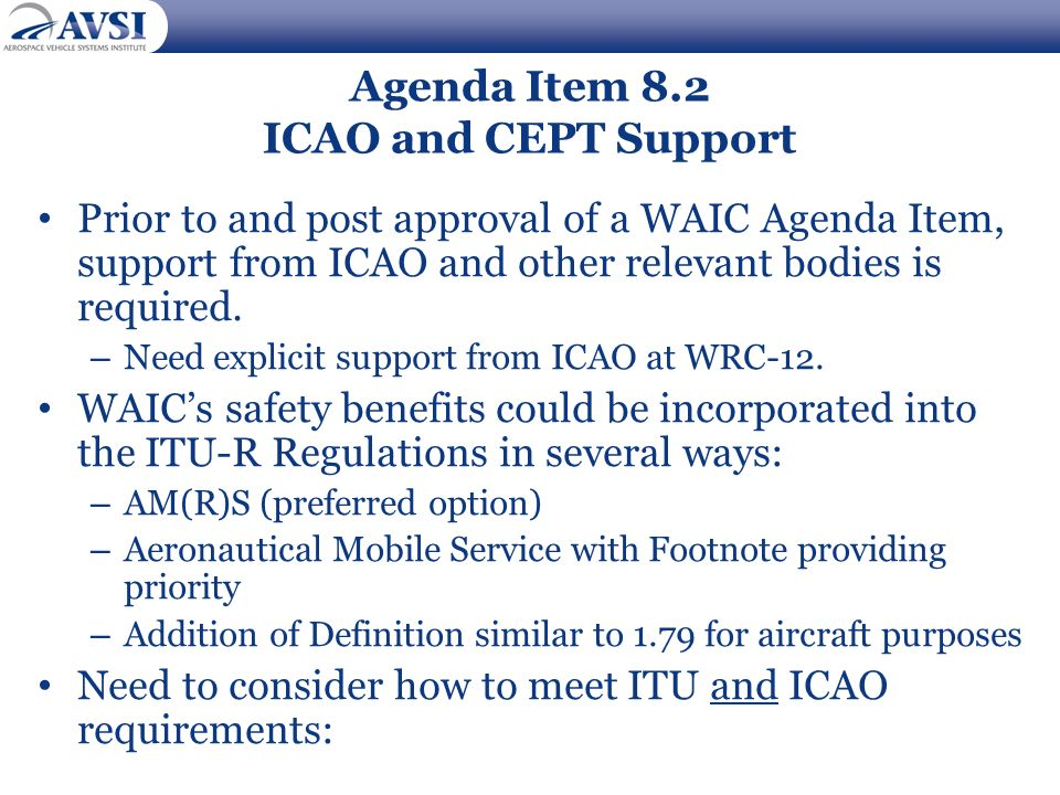 Agenda Item 8.2 ICAO and CEPT Support