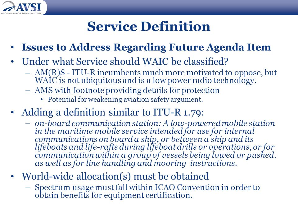 Service Definition Issues to Address Regarding Future Agenda Item