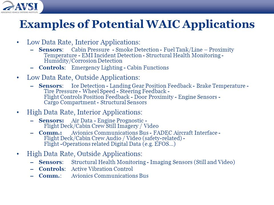 Examples of Potential WAIC Applications