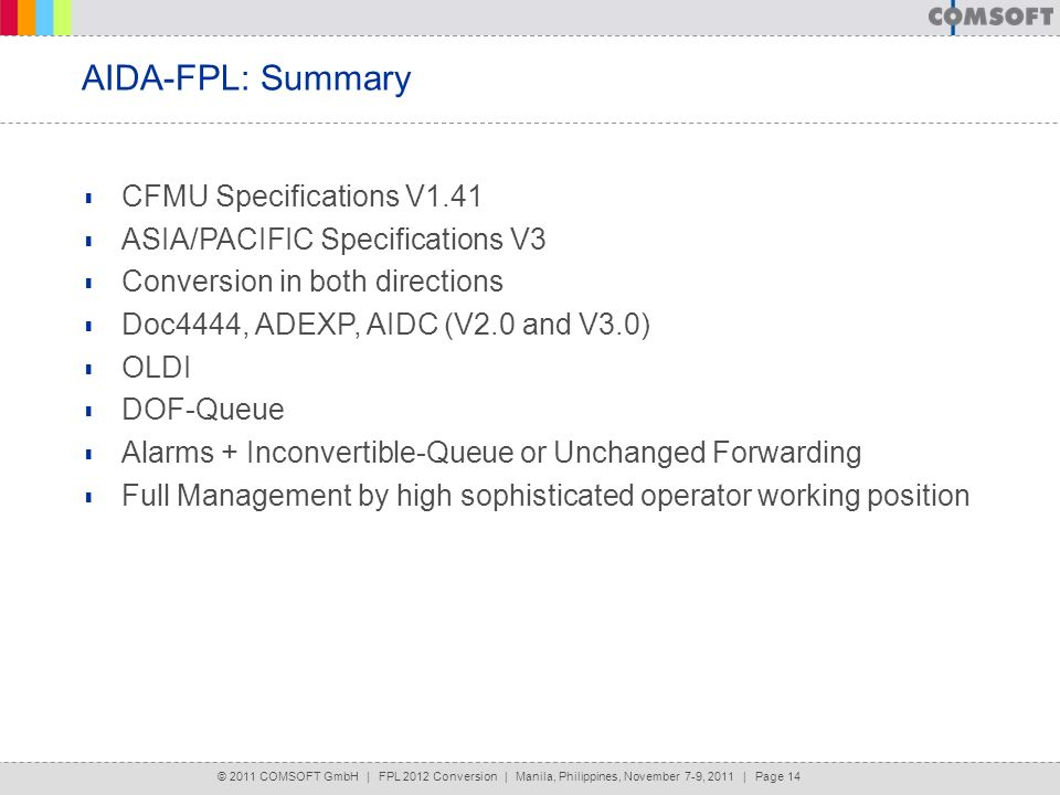 AIDA-FPL: Summary CFMU Specifications V1.41