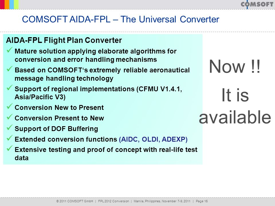 Now !! It is available COMSOFT AIDA-FPL – The Universal Converter