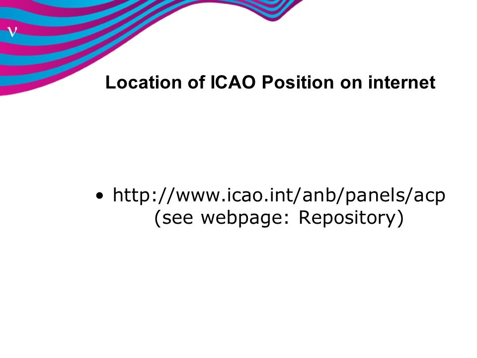 Location of ICAO Position on internet