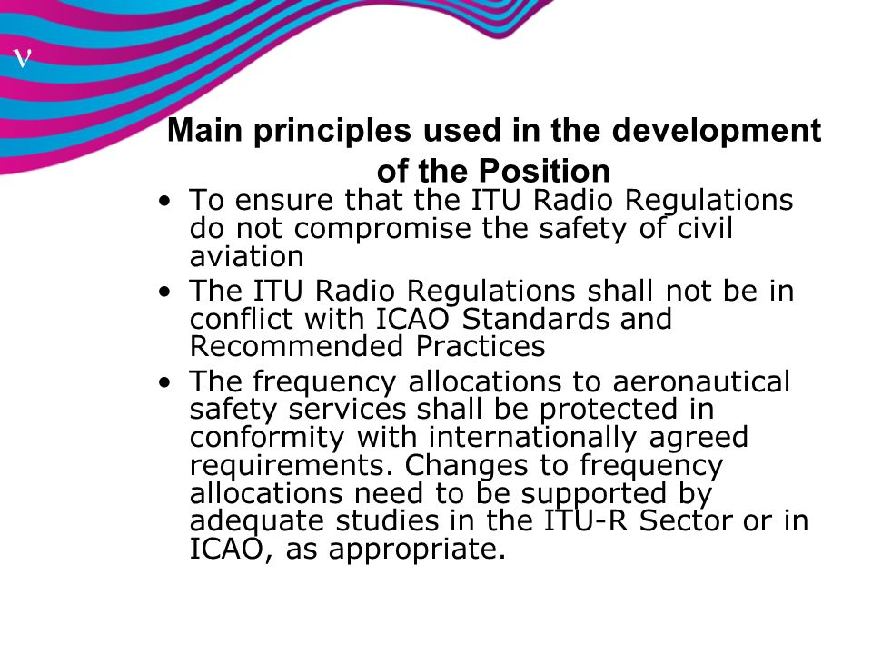 Main principles used in the development of the Position