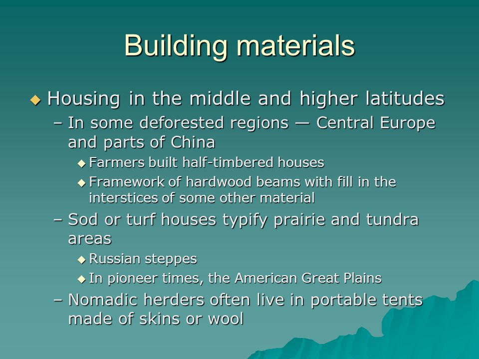 Building materials Housing in the middle and higher latitudes