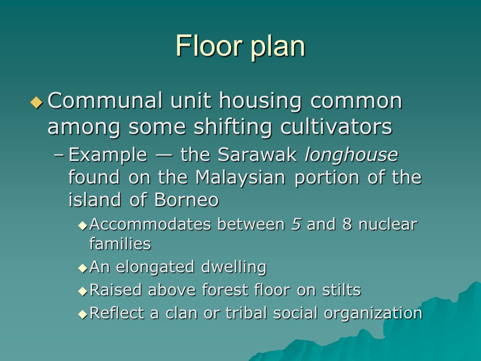 Floor plan Communal unit housing common among some shifting cultivators.